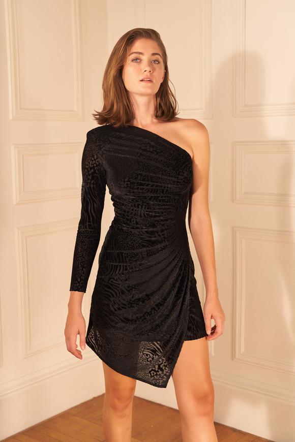 Siyah Drapeli Tek Omuzlu Kadife Elbise