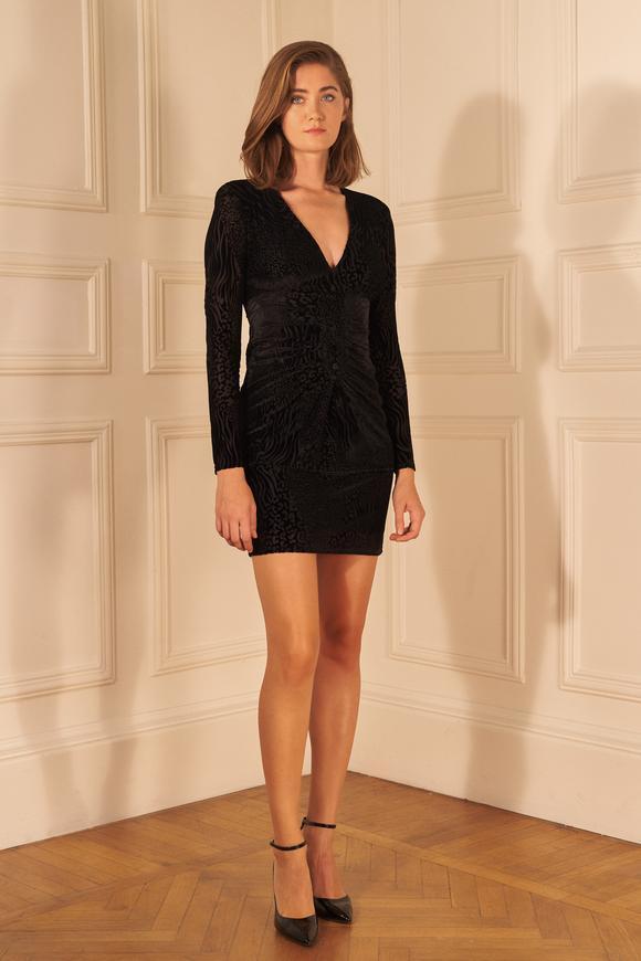 Siyah Drapeli Kadife Mini Elbise