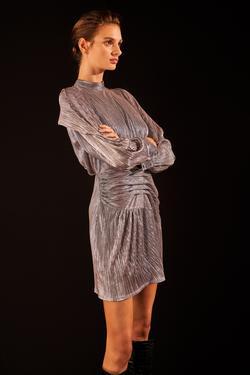 Hakim Yaka Drapeli Örme Elbise