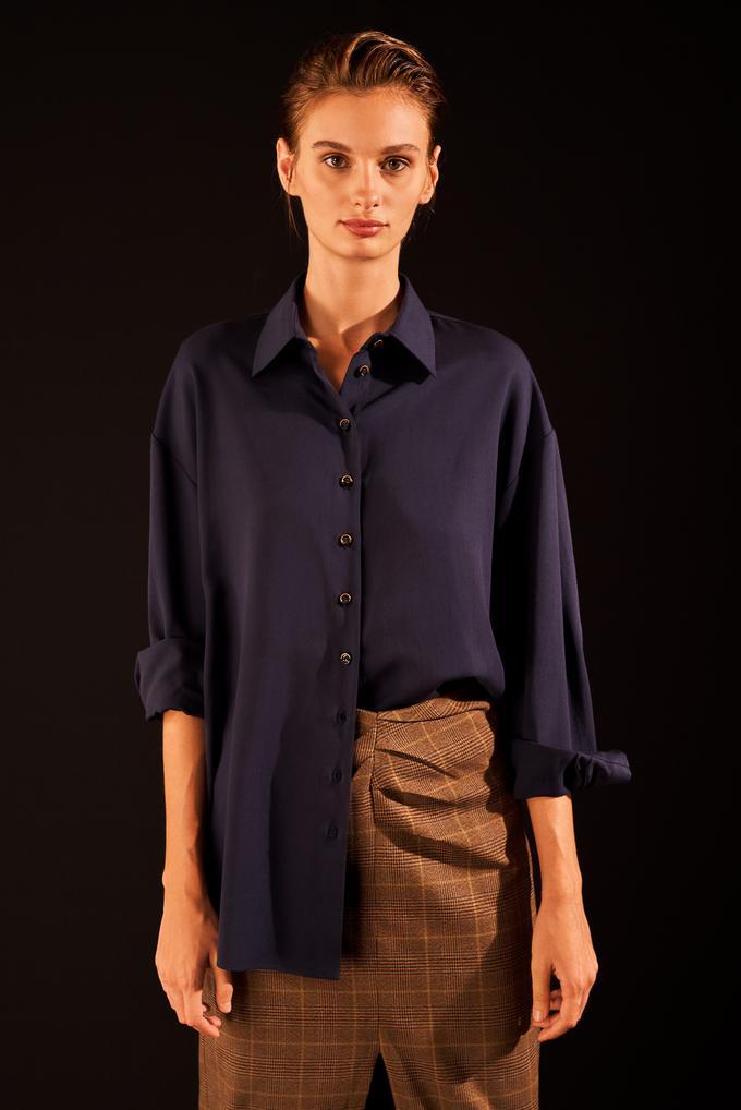 Lacivert Düğmeli Manşetli Gömlek