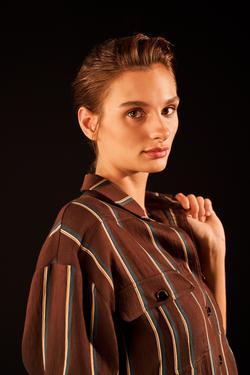 Cepli Çizgili Gömlek Elbise