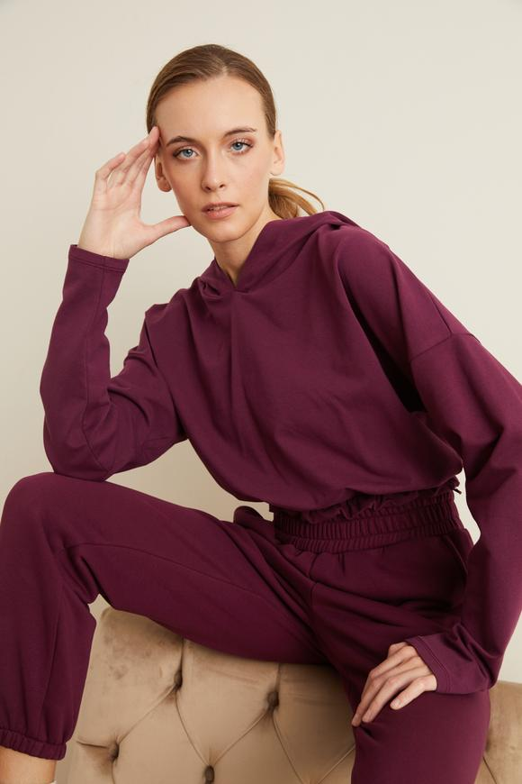 Bordo Kapüşonlu Crop Sweatshirt