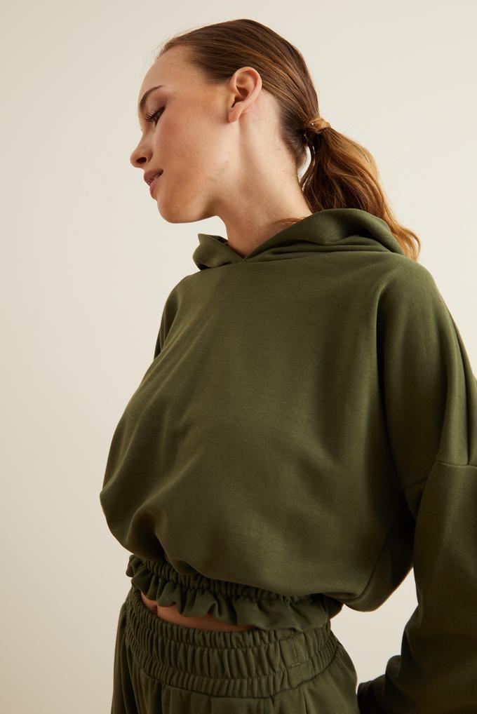 Yeşil Kapüşonlu Crop Sweatshirt