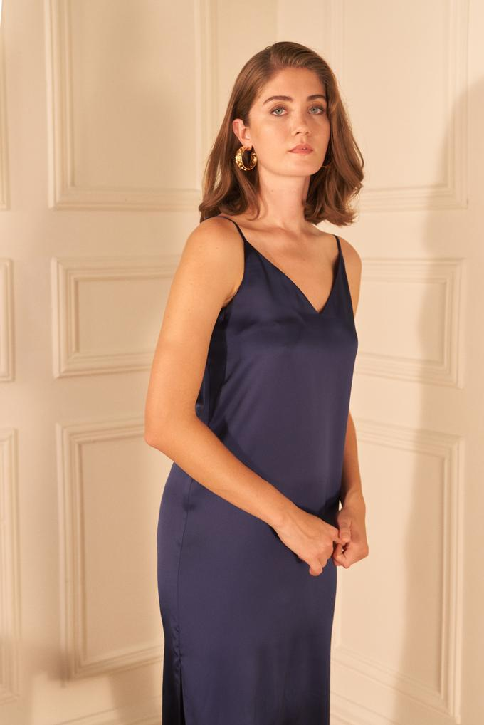 Lacivert Askılı Slip Saten Elbise