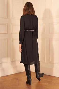 Kemerli Uzun Kol Şifon Elbise