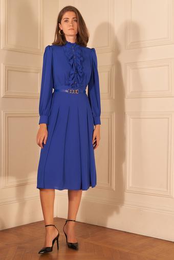 Mavi Kemerli Uzun Kol Şifon Elbise