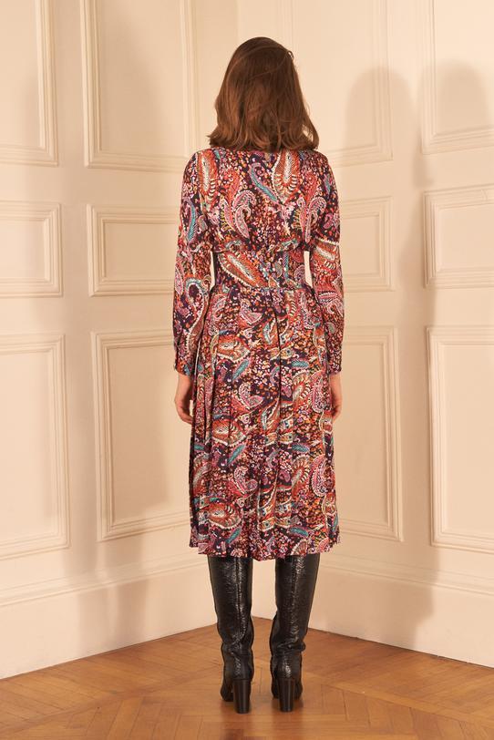 Şal Desenli Pliseli Kemerli Elbise