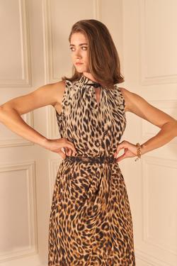 Kemerli Leopar Desenli Elbise