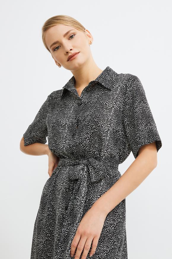 Kuşaklı Desenli Gömlek Elbise