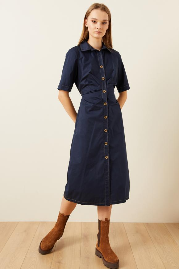 Lacivert Drapeli Pamuk Gömlek Elbise