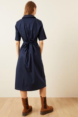 Drapeli Pamuk Gömlek Elbise