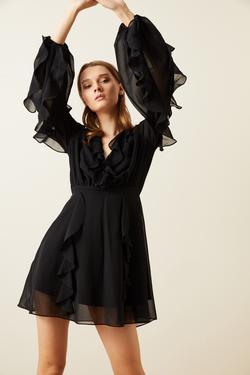 Kruvaze Volanlı Şifon Elbise