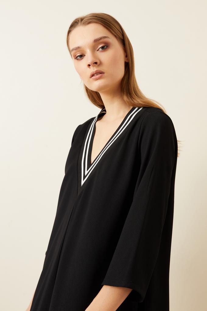Siyah Ribanalı Asimetrik Krep Elbise