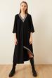 Ribanalı Asimetrik Krep Elbise