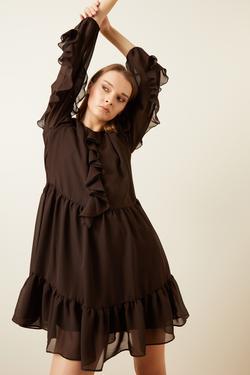 Önü Volanlı Şifon Elbise