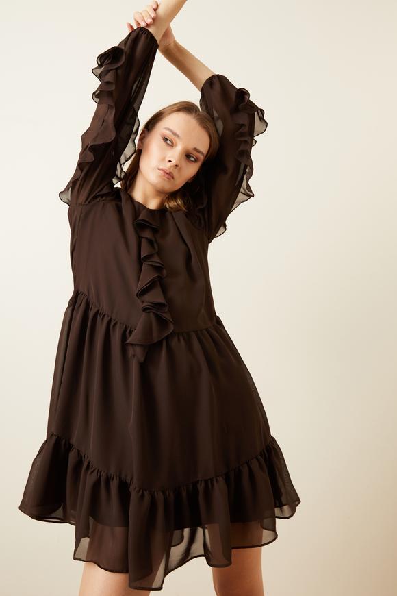 Kahverengi Önü Volanlı Şifon Elbise