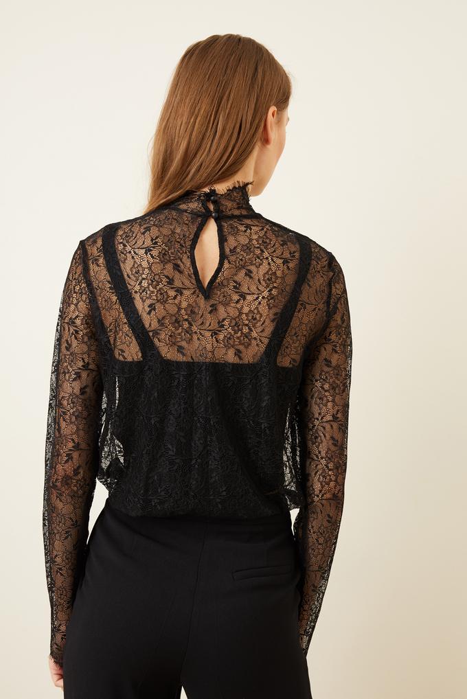 Siyah Dantel Uzun Kol Bluz