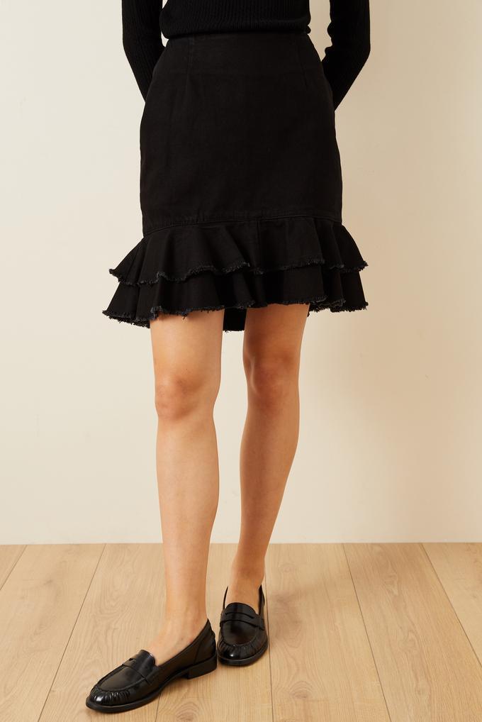 Siyah Volanlı Mini Jean Etek