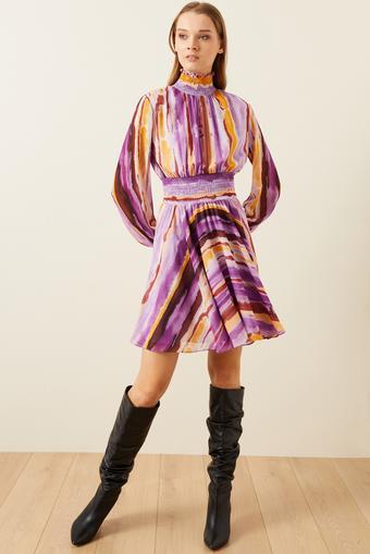 Pembe Kroşetalı Desenli Mini Elbise