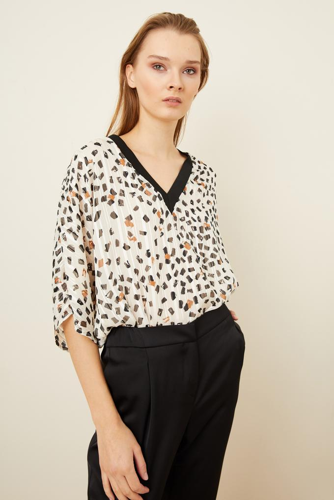 Yakası Ribanalı Desenli Bluz