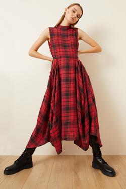 Ekose Desenli Mendil Elbise