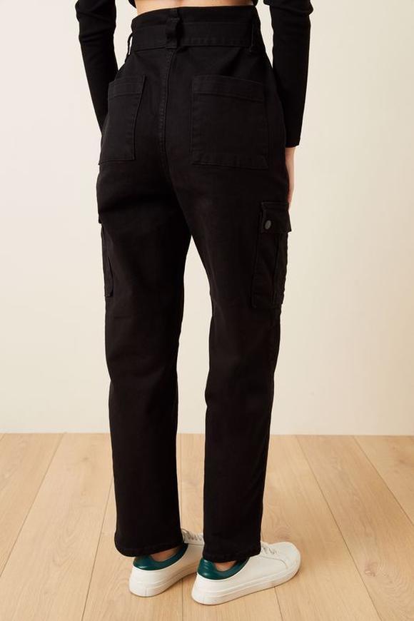 Siyah Kargo Cepli Non-Denim Pantolon