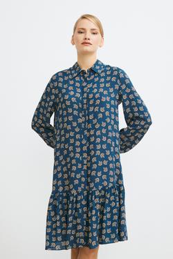 Etek Ucu Büzgülü Desenli Elbise