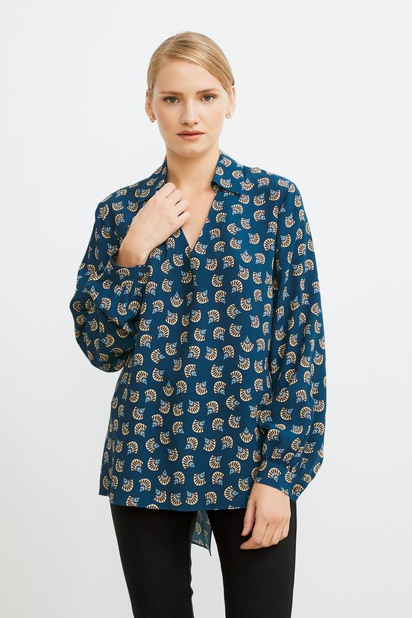 Gömlek Yaka Desenli Bluz