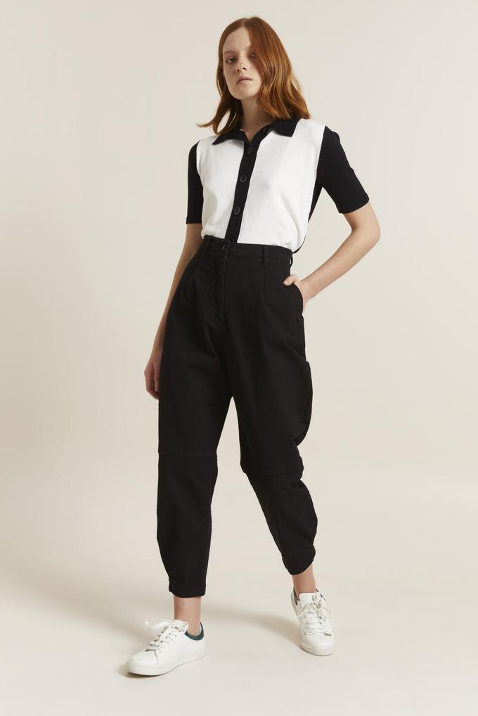 Siyah Pilili Non-Denim Pantolon
