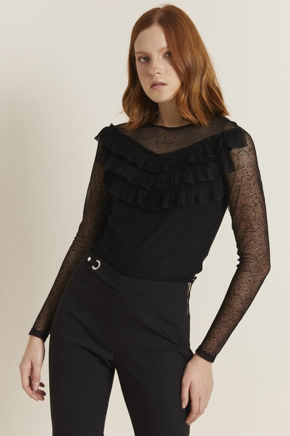 Siyah Piliseli Dantel Bluz
