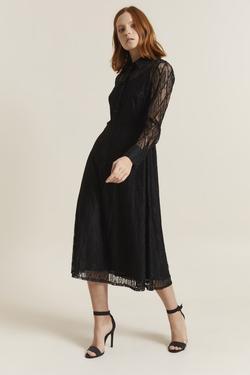 Dantel Uzun Kol Elbise