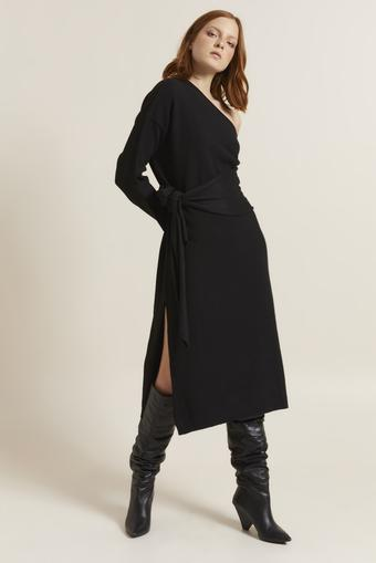 Siyah Tek Omuzlu Triko Elbise