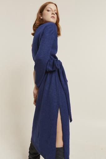 Mavi Tek Omuzlu Triko Elbise