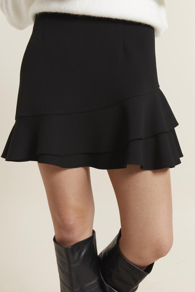 Siyah Volanlı Mini Etek