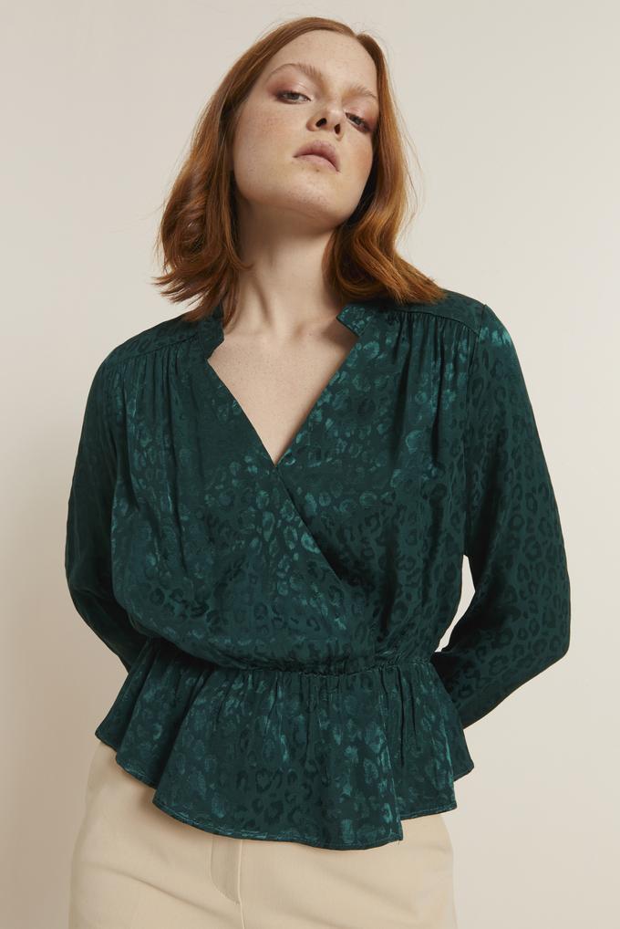 Yeşil Kolları Lastikli Kruvaze Bluz