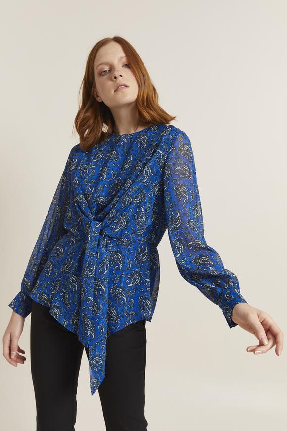 Önden Bağlamalı Desenli Bluz