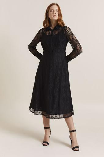 Siyah Dantel Uzun Kol Elbise