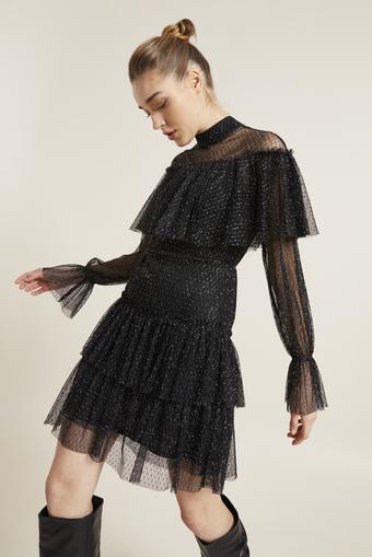 Siyah Volanlı Simli Dantel Elbise