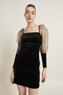 Kolları Tüllü Kadife Elbise