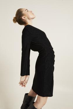 Drapeli Simli Örme Elbise