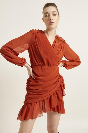 Tarcin Drapeli Mini Şifon Elbise