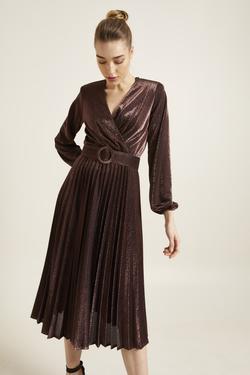 Kemerli Örme Pliseli Elbise