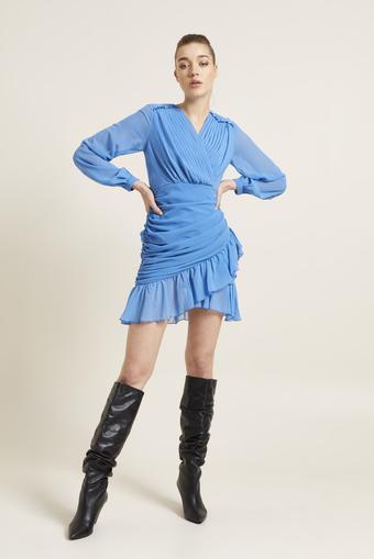 Mavi Drapeli Mini Şifon Elbise