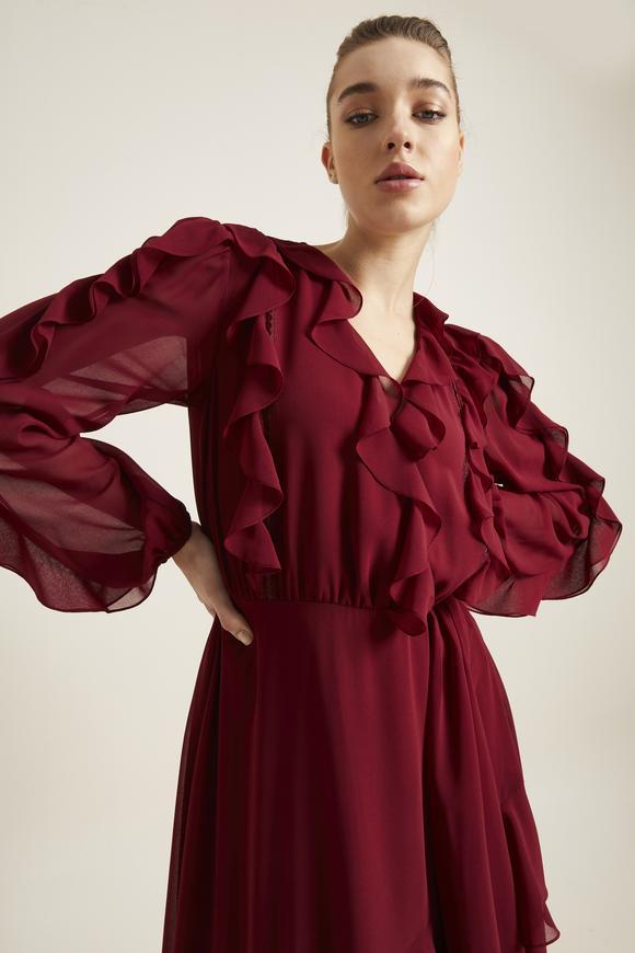 Bordo Volanlı Şifon Elbise