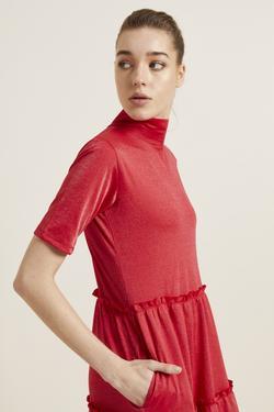Kısa Kol Cepli Örme Elbise