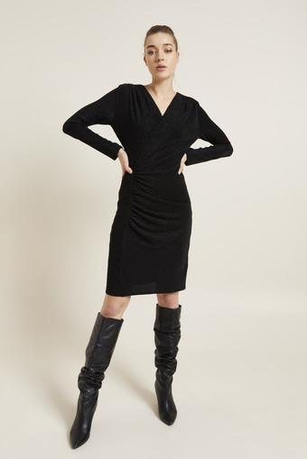 Siyah Drapeli Simli Örme Elbise