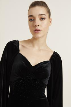 Kristal Taşlı Kadife Elbise