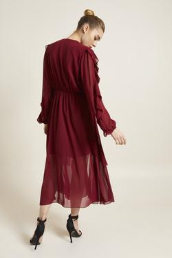 Volanlı Şifon Elbise
