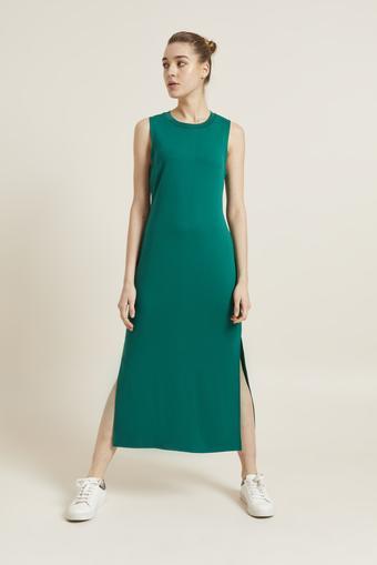 Yeşil Örme Kolsuz Yırtmaçlı Elbise