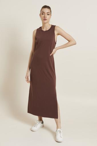 Kahverengi Örme Kolsuz Yırtmaçlı Elbise